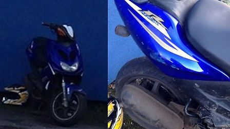 The blue Yamaha moped is believed to have been spotted outside Stevenage Swimming Centre.