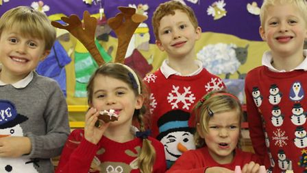Pupils at RA Butler get busy decorating last Christmas.