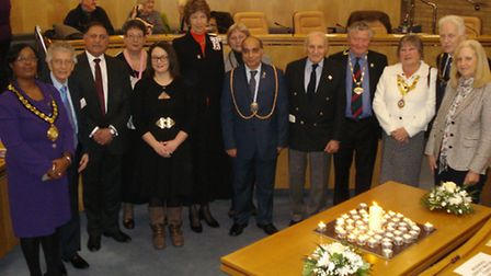 Civic dignitaries including the Lord Lieutenant of Herts the Countess of Verulam gather for the Holo