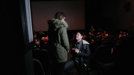 Toby O'Dell asked Ella Rowley to marry him at Cineworld Stevenage on Thursday. She said yes.