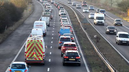 Traffic is heavy on the A1(M) following a crash near Junction 7 for Stevenage.