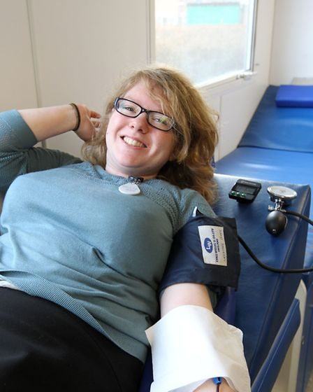 Helen Wright gives blood