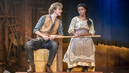 Hyoie O'Grady as Curly and Amara Okereke as Laurey in Oklahoma! at Chichester Festival Theatre. Pict