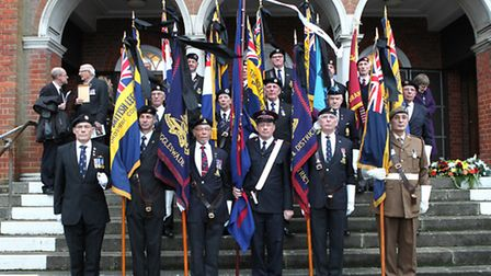 Standard bearers paid their respects to Ray Cole by bearing standards and forming a guard of honour
