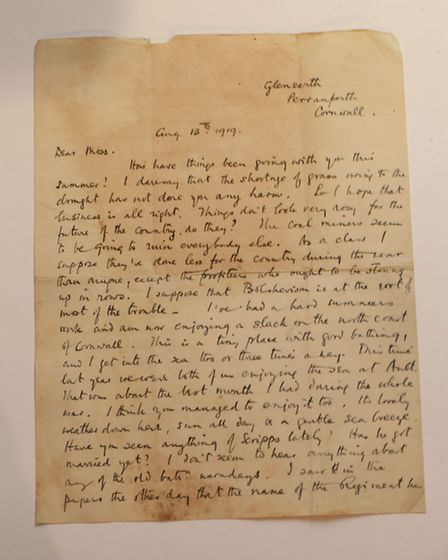 A letter from a collection belonging to Thomas Moss