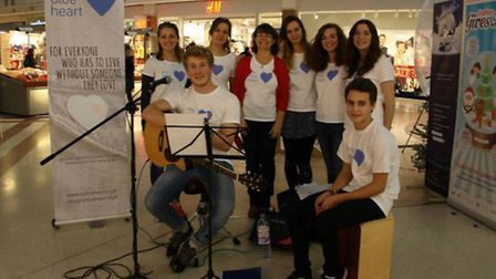 My Blue Heart raised £282.35 from a busking session in Cambridge's Grafton Centre before Christmas.