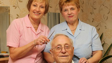 Anthony's hairdressing owner of 46 years Tony Huckle with hairdressers Ann Webb (L) and Carol Warren