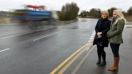 Lesley Newman with her daughter Amie Makins by the scene of the accident