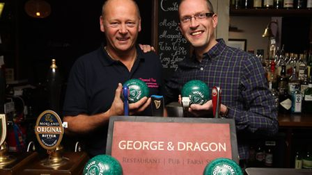 Tony Webb with landlord Jason Kingsbury at The George and Dragon pub in Graveley