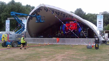Setting up the main Rhythms Of The World stage