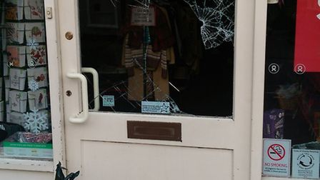 Thieves smashed the glass doors of Oxfam and British Heart Foundation on King Street in Saffron Wald