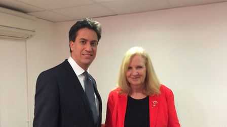 Labour Party leader Ed Miliband and Stevenage Labour Party leader Sharon Taylor.