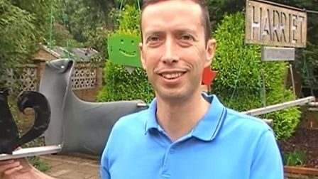 Steven Barley, of Lavender Way Hitchin, has made an assualt course for squirrels in his garden.