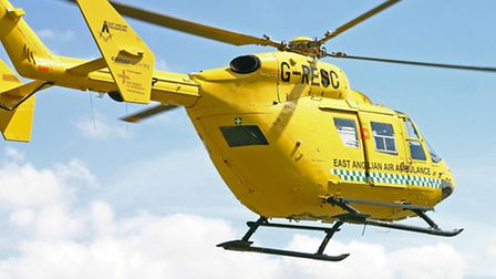 A man was airlifted to hospital by the East Anglian Air Ambulance.
