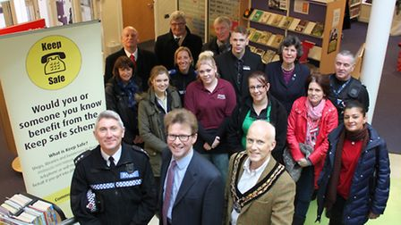 The High Sheriff of Essex, Nicholas Charrington (front, centre) is joined by Insp Mick Couldridge of