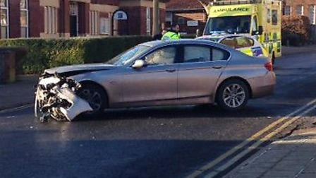 One of the cars ploughed into a garden wall
