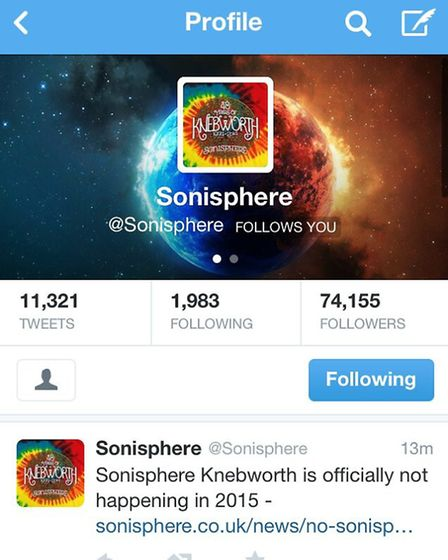 Sonisphere's tweet confirming there will be no festival at Knebworth in 2015