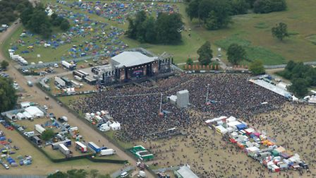 The Sonisphere 2014 festival's main stage at Knebworth from the air [Picture: National Police Air Se
