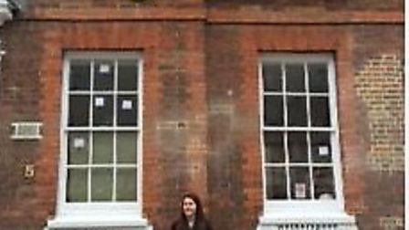 Where's the apostrophe gone? Manager Amy Smith outside The Angel Vaults Inn.