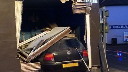 A car crashed into a house in Town Street, Thaxted, late yesterday afternoon (Sunday).