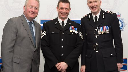 Sergeant Karl McDermott from Henlow was commended by policing minister Mike Penning, who was guest o