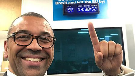 James Cleverly poses with CCHQ's own countdown clock. Photograph: Twitter.