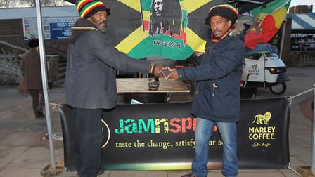One love in a cup: Marley's rasta barista's Boxer and Judah celebrate Bob Marley's birthday.