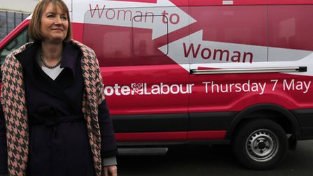 Harriet Harman after arriving in Stevenage on the pink campaign minibus.