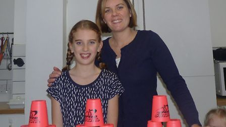 Mum Suzie Godfrey and daughter Sophie Godfrey ahead of the Speed Stacking tournament this Saturday.