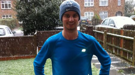Nick, pictured after a snowy training run, is doing the 2015 London Marathon for St John Ambulance.