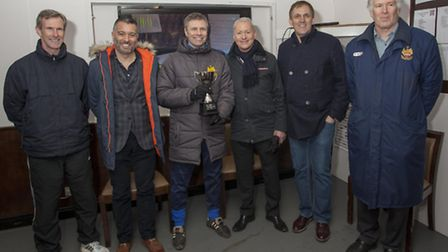 Show of solidarity: (l-r) Andy Melvin, Guillem Balague, Mark Burke, Jim White, Tony Cascarino and Ro