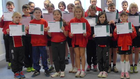 Pupils at St Thomas More primary school in Saffron Walden with their first aid certificates from St