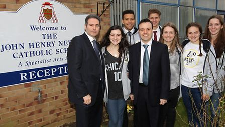 JHN headteacher Clive Mathew with students and Stevenage MP Stephen McPartland, who has issued a sup