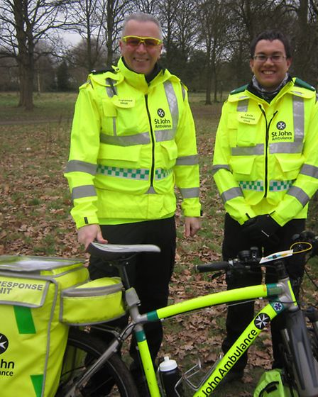 Peter Coulson and Chris Love, St John Ambulance's cycle response unit on the day.