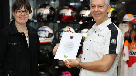 Cathy Inman, Trading Standards officer for Herts and Martin Brown, director of Bike Stop