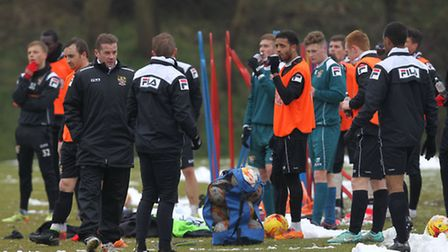 Stevenage players training in the snow
