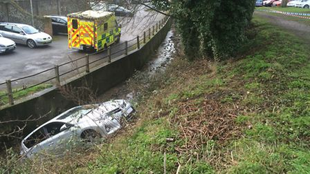A car ended up in the Slade after it was inadvertently put in reverse from the Common car park in Sa