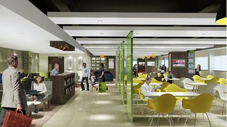 An artists impression of Stansted Airports first lounge in the main departure area in the Uttlesford
