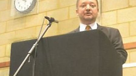Headteacher Richard Palmer speaking at the St Christopher centenary assembly. Credit: Holly Bazley