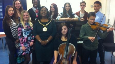 Grant recipients pictured with Mayor of Stevenage Sherma Batson include: Daniel Garvin, violin, and