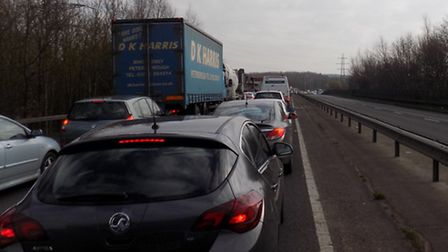 Gridlock on A602 Hitchin towards Stevenage, Monday, March 23, 2015