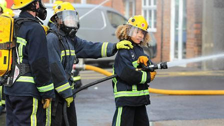 The children on the Life course perform a drill in front of friends and family at Stevenage fire sta