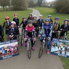 Cyclists, Bethany Hayward and Helen Wyman with pupils from Nobel School