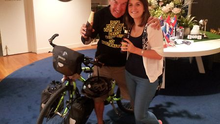 Jeremy Reed celebrating his arrival in Melbourne with daughter Cathryn.