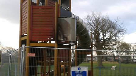 Damage to the play equipment at Hampson Park, Stevenage, March 2015.
