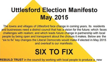 Uttlesford's Liberal Democrat group has published its election manifesto.