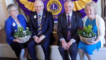 Hitchin Lions Club 45th charter lunch, March 2015 Jill and Martin Morgan, Colin and Lesley Davies