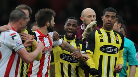 Stevenage and Dagenham were involved in a heated game at the Lamex. Photo: Harry Hubbard
