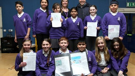 Pupils from Wilshere Dacre School, with Layth Yousif from The Comet and teacher, Tessa Alexander