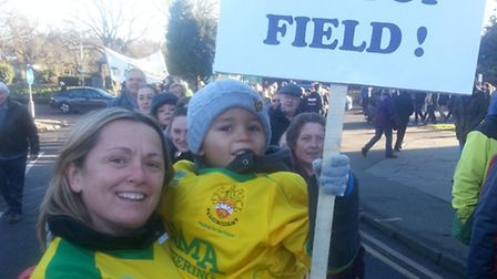Hitchin Town ladies football team captain Mel Blackmore and her nephew Lucas.